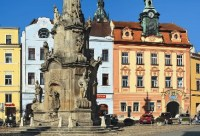 Jindřichův Hradec - Baroque statue of the Holy Trinity and the Old City hall on Peace Square, photo by: Archiv Vydavatelství MCU s.r.o.